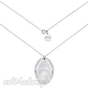 długi srebrny naszyjnik z kryształowym buddą swarovski®
