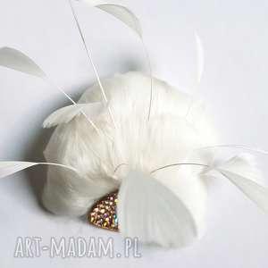 Fascynator ślubny - zamówienie specjalne ozdoby do włosów blanka