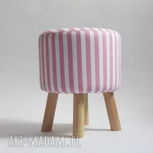 Pufa Różowe Paseczki, pufa, taboret, stołek, ryczka, dziecko, salon