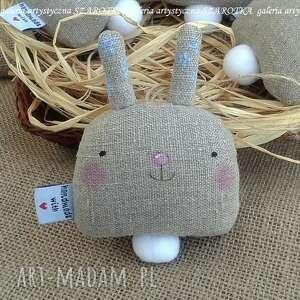 zajączek, króliczek - dekoracja tekstylna, ozdoba lniana, zając z tkaniny