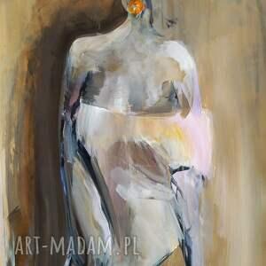 woman 100x70, obraz do salonu, akt grafika, kobieta obraz, w sztuce
