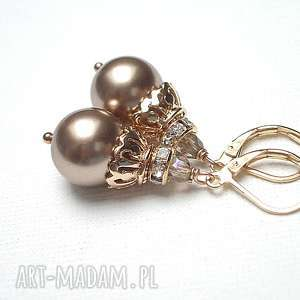 Cappuccino pearls - kolczyki, perły, swarovski, kryształki