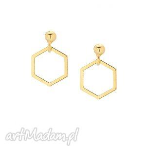 złote kolczyki wiszące sześciokąty - geometryczne, delikatne