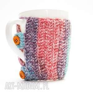 kubki kolorowy kubek w ocieplaczu, kubek, kubeczek, ocieplacz, sweterek