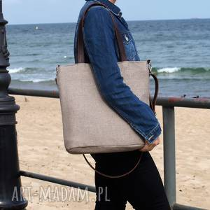 Prezent Lekka i poręczna beżowa torba z tkaniny2709 , torebka, torba-na-ramię