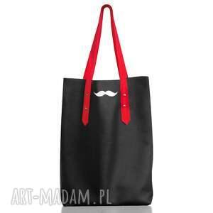 na ramię mustache bag skóra naturalna czarny, worek, mustache, wąsy, zakupy