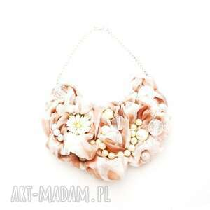 naszyjniki włóż róż naszyjnik handmade, naszyjnik, róż, różowy, brudnyróż, kremowy