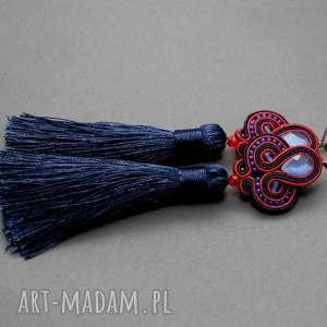 granatowo-czerwone kolczyki sutasz, sznurek, eleganckie, wiszące, granatowe, długie