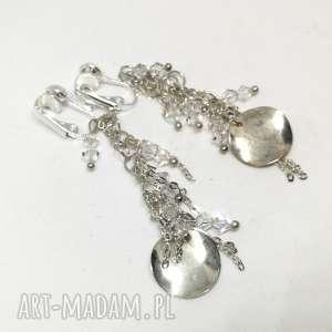 hand made klipsy wiszące w kolorze srebrnym