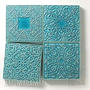dekory cztery ornamenty turkusowe, dekory, kafle, dekoracja, kafle ornamentowe