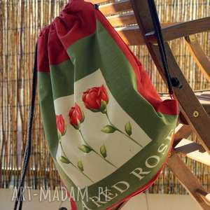 plecak / worek - red rose, plecak, worek, miejski, vege, róże, prezent