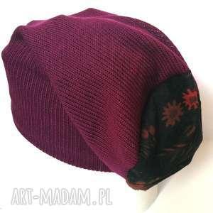 czapka damska wełna orient amarant, czapka, wełna, ciepła, narty, etno, boho