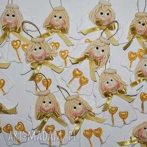 ładne buźki - aniołki z masy solnej, aniołki, prezent, święta, ozdoba, masa