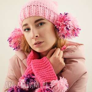 dodatki różowy komplet z pomponami - czapka i szalik, komplet, czapka, szalik