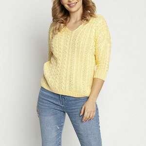 sweter ozdobiony warkoczami, swe213 żółty mkm, dzianinowa bluzka, cienki