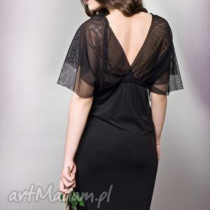 długa sukienka z tiulową górą, tiul, czarna, długa, jersey sukienki
