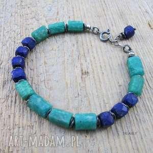 lapis lazuli z amazonitem - surowa bransoletka, lapis, amazonit, srebro