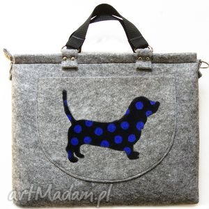 torba na laptopa kolekcja delux part 8, totebka, torba, laptop, filc, filcowa, pies