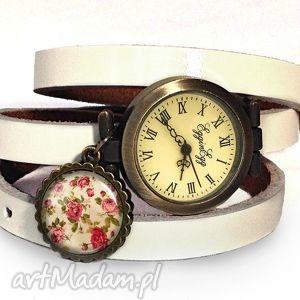 zegarki retro róże - zegarek bransoletka na skórzanym pasku, retro, róże, vintage