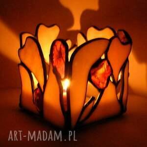 świeczniki jasny świecznik z bursztynami, witrażowy