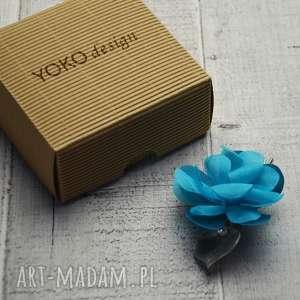ozdoby do włosów turkusowy kwiat, turkusowy, spinka, srebro, świąteczny prezent