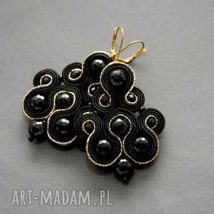 handmade klipsy czarno-złote sutasz z onyksami