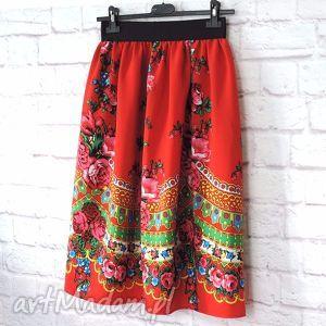 Spódnica folk góralska wzór cleo czerwona MIDI , spódnica-góralska, spódnica-folkowa