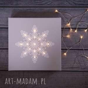 pomysł na prezenty święta ŚWIECĄCY OBRAZ LED Śnieżynka świąteczna dekoracja, śnież