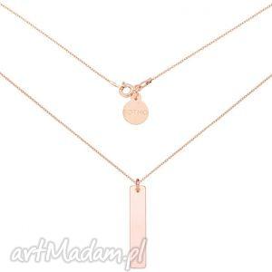 naszyjnik z różowego złota prostokątną blaszką sotho