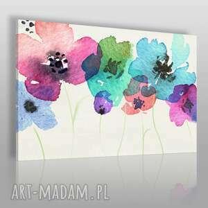 obraz na płótnie - polne kwiaty 120x80 cm 54601, kwiaty, akwarela, łąka, kolorowy