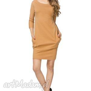 Sportowa sukienka z kieszeniami T181, piaskowy, sukienka, sportowa, bawełniana