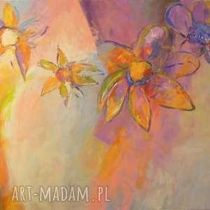 obraz na płótnie - kwiaty w filetach i pomarańczach 40/50