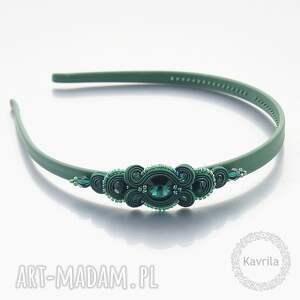 ozdoby do włosów opaska glamour dark emerald soutache, sutasz, soutache