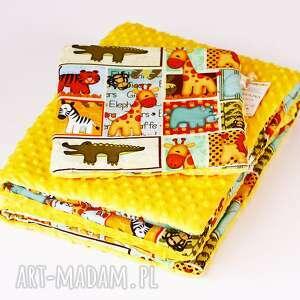 zestaw niemowlaka safari żółty - kocyk, zestaw, poduszka, safari