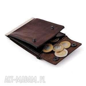 portfel męski skórzany na monety i bankonoty, skórzany