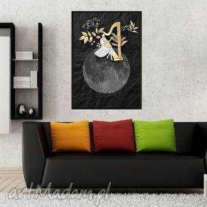 harfistka art print a4, harfistka, obraz, dekoracja, salon, kobieta grafika