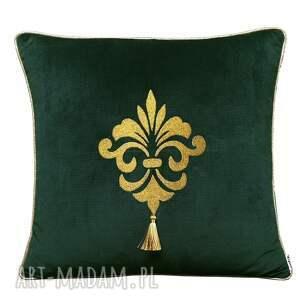 majunto poduszka velvet złoty haft i chwost wzór 1, z haftem