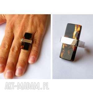 biżuteria ze srebra pierścionek z bursztynem - bursztyn, bursztynowy