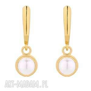 złote kolczyki z perłą swarovski® crystal, pozłacane