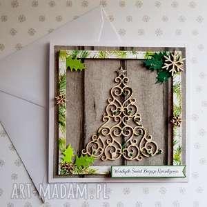 kartka świąteczna - choinka w ramce, święta, choinka, życzenia, ramka