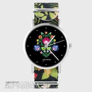 handmade zegarki zegarek - folkowy, czarny kwiaty, nato