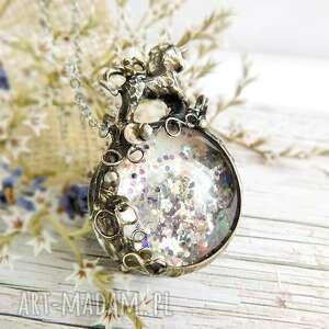 wisiorki wisior z tęczowymi drobinkami fairyunicorn, jednorożec, unicorn, fairy