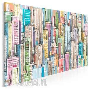obraz na płótnie - miasto budynki 120x80 cm 15801, komiks, budynki