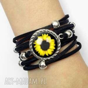 bransoletka słonecznik, regulowana, kwiatowa lato