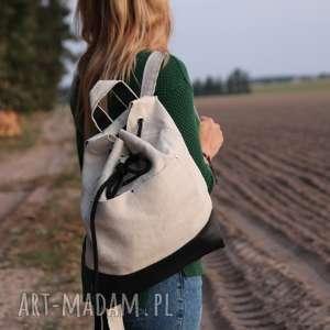 Plecak beżowy natura godeco plecak, pojemny wegańska, natura