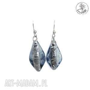 kolczyki agaty niebieskie w bieli, tiffany, jesień, zima, biżuteria-jesienna