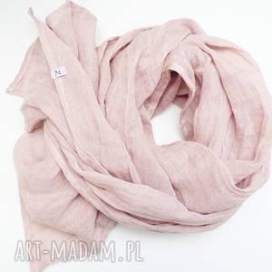 Obszerny szal lniany jesienny, modny eco pudrowy róż szaliki