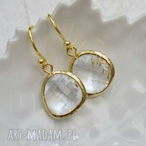 hand-made kolczyki clear drops in gold