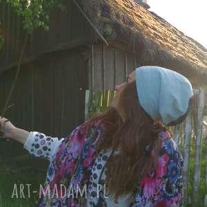 czapka damska błękit czerń wzory etno, czapka, jesien, boho, wzory,