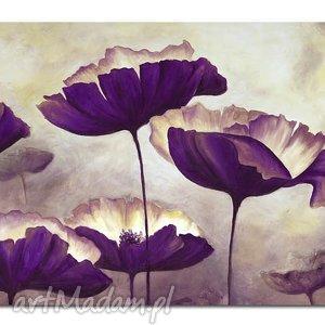 obraz duży kwiaty 3 - 120x70cm na płótnie fioletowe, obraz, kwiaty